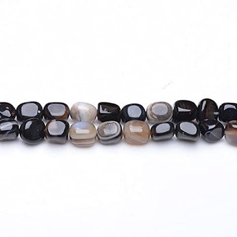 Strand Of 40+ Black Onyx Approx 8mm Smooth Nugget Beads - (GS3733) - Charming Beads