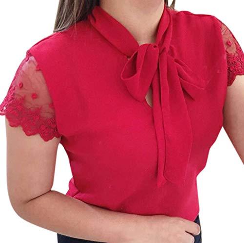 OIKAY Damen Chiffon Spitze Hemd Bluse, Frauen Sommer Arbeit Büro Spitze Top Fliege Kurzarm Chiffon Hemd Bluse(Rot,36(M))