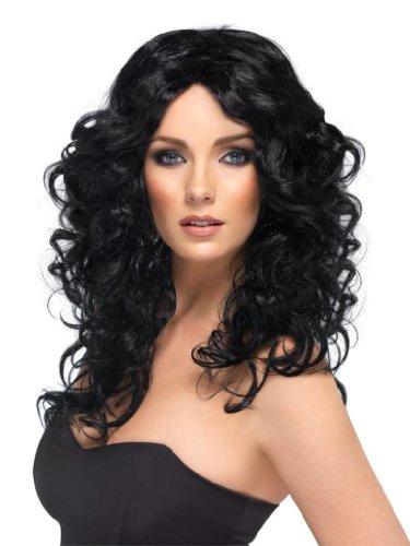 Preisvergleich Produktbild Schwarze Damenperücke Perücke für Damen schwarz Langhaarperücke lange Locken Wellen lang