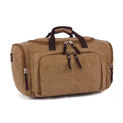 Etasche Reisetsache Sporttasche Weekender Tasche Handgepäck aus Canvas Segeltuch Vintage 53 x 27 x 30 cm (Khaki) Khaki