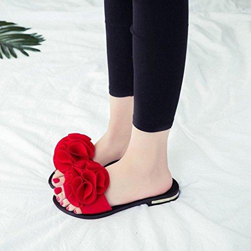 Transer® Damen Flach Slipper Blume Draußen Drinnen Strand Slipper (Bitte achten Sie auf die Größentabelle. Bitte eine Nummer größer bestellen. Vielen Dank!) Rot