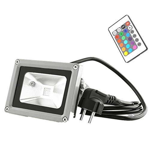 Amzdeal 10W LED RGB 16 Farben Fluter Außen mit Stecker inkl. Fernbedienung