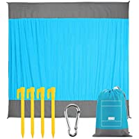 Expower Beach Blanket, Sand Proof Picnic Outdoor Mat- Large 82.6 x 78.7 inch - Pocket Zippered Portable Waterproof Soft Fast Drying Nylon Oversize Blanket for Travel Camping Hiking - Pocket Size