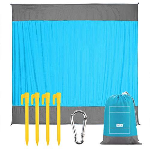 Ecke Mat (EXTUSD Stranddecke Picknickdecke 210 x 200 cm, Ultraleicht Kompakt Verschleißfest Nylon Strandtuch,Wasserdicht und sandabweisend Campingdecke mit 4 Befestigung Ecken)