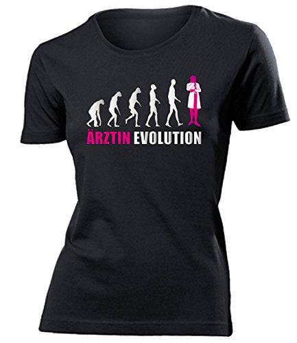Ärztin Evolution 4574 Doktor Arzt Damen Fun-T-Shirts Schwarz Aufdruck Pink S