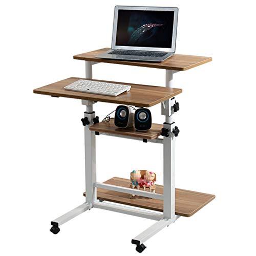 DWJ Kindertische Höhe Einstellbar Mit Rad, Kann Handy, Mobiltelefon Computer Arbeitsstationen Mehrschichtig Lager Metallrahmen Schreibtisch