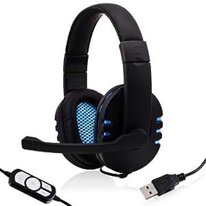 CSL - Casque - KEM-613 USB incl. carte son externe / Gamingheadset incl. carte son incluse| Edition Gaming Plus (USB) | oreillettes de casque en similicuir / Mesh-Inlay | réglage du volume | noir/bleu