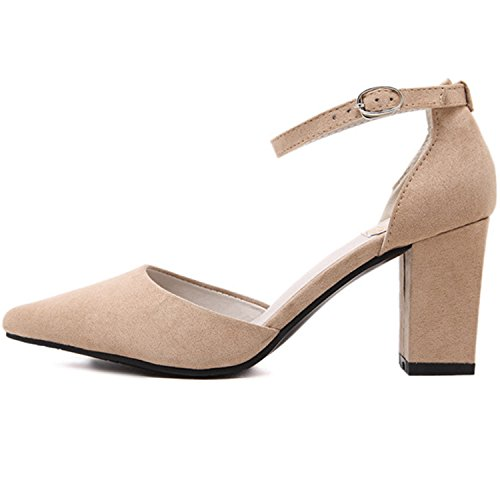 Oasap Women's Pointed Toe High Heels Ankle Buckle Solid Pumps Kaki
