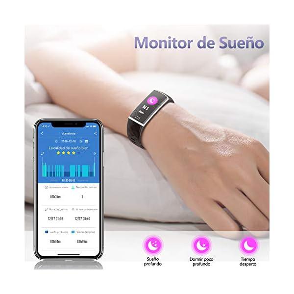 LOZAYI Pulsera de Actividad, Pulsera Actividad Inteligente, IP67, Reloj Inteligente para Mujer y Hombre, con Pulsómetro… 5