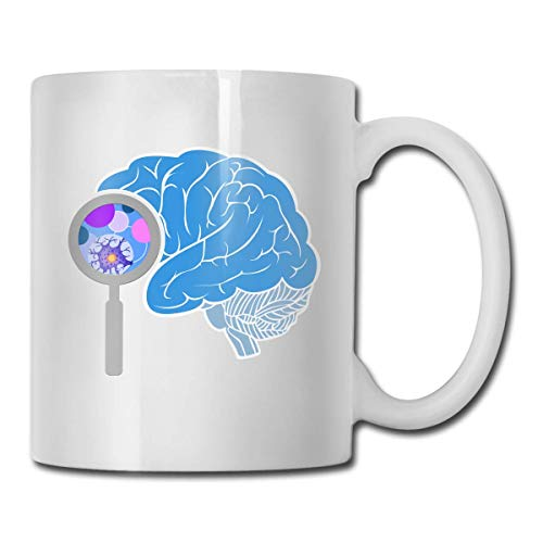 Daawqee Becher Porcelain Coffee Mug Brain Blue Line Ceramic Cup Tea Brewing Cups for Home Office