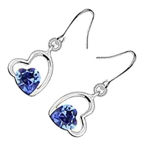 GWG® Earrings for Women Sterling Silver Plated Sapphire Blue Heart Crystal Ornated within Another