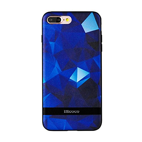 Mobiltelefonhülle - DZGOGO TOUCH Serie für iPhone 7 Plus TPU + PU + PC Unregelmäßiger Rhombus Texture Combination Schutzhülle ( Farbe : Schwarz ) Dunkelblau