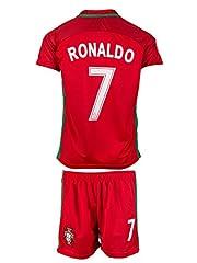 Idea Regalo - Divisa da calcio del Portogallo, numero 7 Ronaldo 2016/17, (partite in casa), per bambini, con maglia e pantaloncini, 128