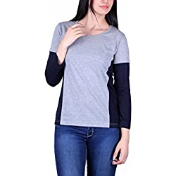 Vivid Bharti Grey & Navy Round Neck Full Sleeve Women Tshirt