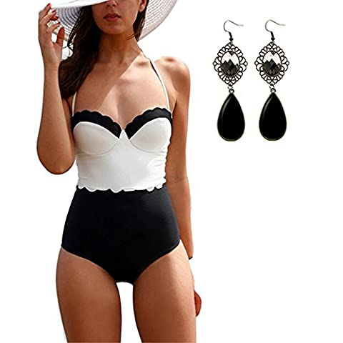 M-Queen 2016 Femmes Bikini Push up Padded Bra Maillot de Bain Haute Taille Maillot Bustier 1 Une Pièce Swimwear de Moulage Soutien-gorge Sexy Bikini Set - Blanc+Noir - Taille L
