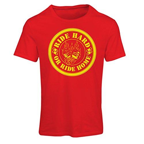Maglietta Donna Ride Hard! Biker Clothing (Large Rosso Multicolore)
