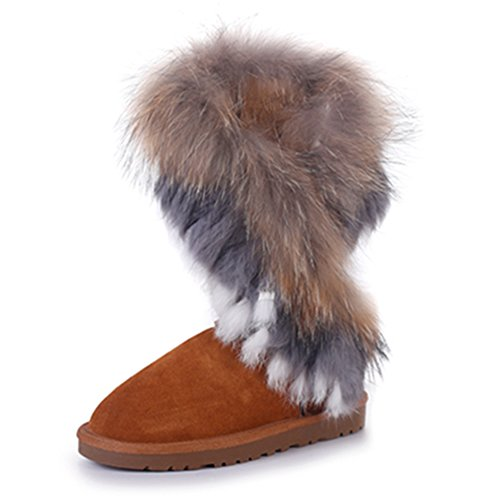 Rismart Damen 2016 High-End Kundenspezifisch Warm Fell Gefüttert Hälfte Schneestiefel Stilvoll Wildleder Winter Stiefel SN2810 Bräune