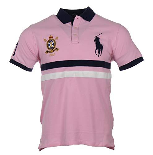 Ralph Lauren Kurzarm Polo - Custom Slim Fit - Pink mit blauem Balken (M)