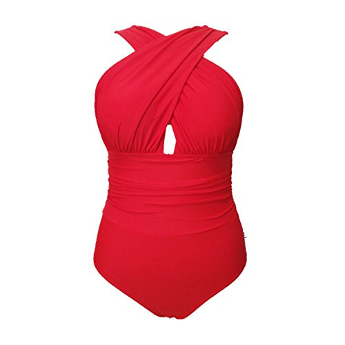 SUNNOW Dame Einteilige Bademode vorne Kreuzen Takini Halterneck Padding Swimsuit Rot