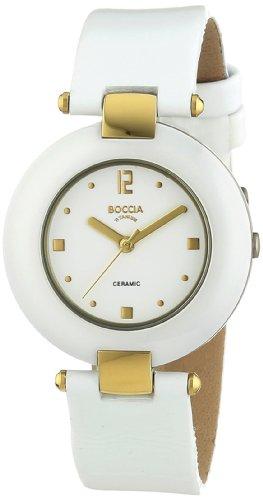 Boccia 3190-05 - Reloj analógico de cuarzo para mujer, correa de cuero color blanco