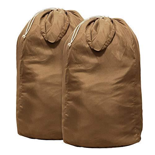 Mcleanpin 2pcs sacchetti di lavanderia di cotone 100% sacco della biancheria alta resistente con coulisse borsa per il bucato da viaggio pieghevole lavabile e riutilizzabile