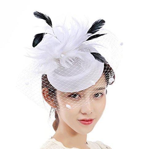(HETAO Mädchen Kopfschmuck, Tüll Feder Bow-Knoten Hüte Bowler Fascinator Net Blume Haarspange Für Cocktail Party Royal Ascot Braut Hochzeit Bankett Stirnband,White)