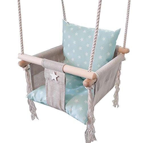 Golden Kids Babyschaukel Babysitz Baby Kinderschaukel Holz Stoff Schaukel Zum Aufhängen (Grau)