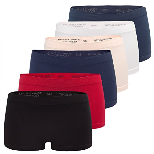 Fabio Farini - Lot de 6 - Boxer Shorty Uni Femme, taille:38/40;couleur:Multicolo
