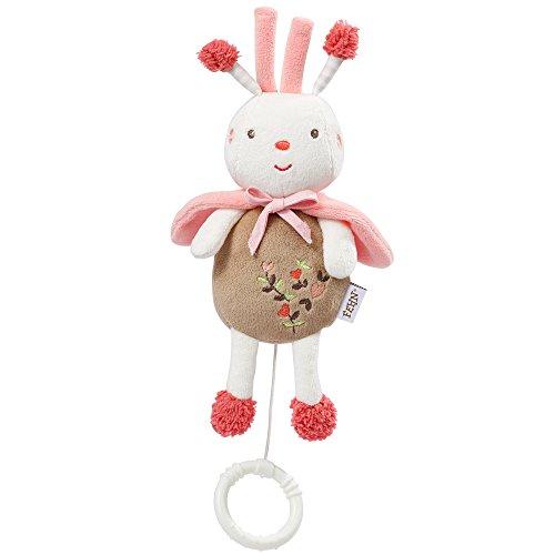 Fehn 068016 Mini-Spieluhr Biene / Kuscheltier mit integriertem Spielwerk mit sanfter Melodie zum Aufhängen an Kinderwagen, Babyschale oder Bett, für Babys und Kleinkinder ab 0+ Monaten
