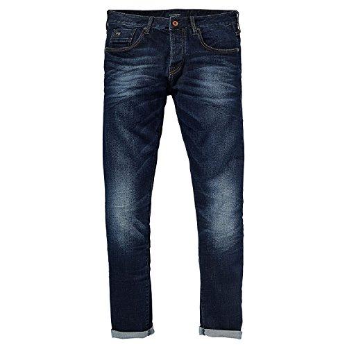 Jeans Uomo SCOTCH&SODA stone washed, cinque tasche, chiusura con bottoni, stampa fantasia all'interno, passanti in vita Bleu - Bleu