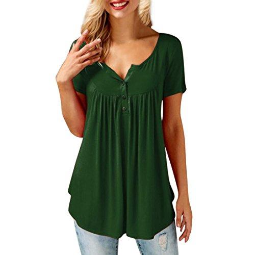 LILICAT® ♬Camisas Mujer de Vestir, Blusa Cuello V de Manga Corta Irregular Verano,Camisetas con el Botón Sexy Row Plisan, Blusa Tops Casual con Pliegues Sólidos (XL, Verde)