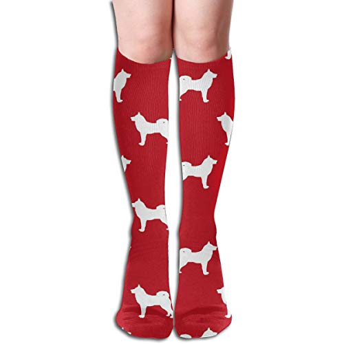 Women's Fancy Design Stocking Akita Dog Akita Silhouette Dog Silhouette Fire Red Multi Colorful Patterned Knee High Socks 19.6Inchs
