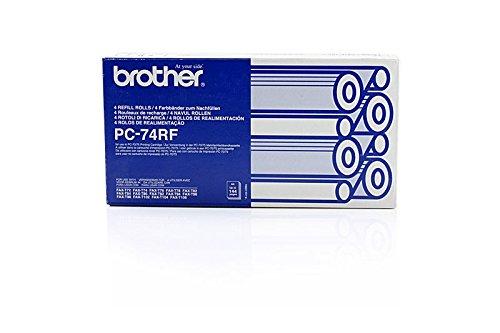 Preisvergleich Produktbild Original Brother PC74RF / 27723 Thermo-Transfer-Rollen (schwarz, ca. 140 Seiten, 4 Stück) für Fax V 1; Fax T 102, 104, 106, 7, 72, 74, 76, 78, 82, 84, 86, 92, 94, 96, 98; PPF 560, 580
