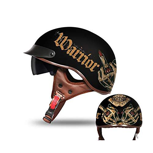 SDKUing Mopedhelm, Halbschalenhelm Moto Helmets Jet-Helm Motorrad-Helm Roller-Helm Scooter-Helm Bobber Mofa-Helm Chopper Retro Cruiser Vintage Pilot Biker Helmet ·ECE Zertifiziert