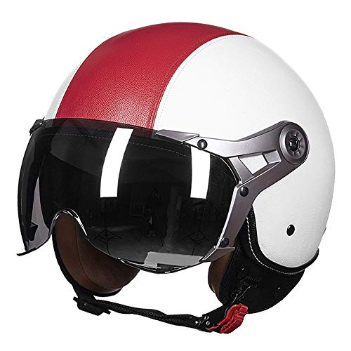 Retro Motorcycle Helmet Harley Half Face Helmet Goggles Fresh Breathable Adult Leather Open Face Helmet Skateboard Protective Gear for Men and Women,Redwhite,XL(22.83~23.62)