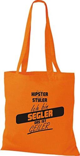 Shirtstown Stoffbeutel du bist hipster du bist styler ich bin Segler das ist geiler orange