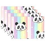 SENNSEE bunt gestreift Panda Cute Tisch-Sets Home Teller Fußmatte für Esstisch hitzebeständig Küche Tisch Matte Kinder 30,5x 45,7cm, Polyester, Mehrfarbig, 12x18x4 in