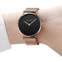 Reloj fino para mujeres Relojes de cuarzo de oro rosa para damas, Relojes de dama con rostro grande, Relojes de vestir para mujer Relojes de pulsera para mujer, de lujo, con diseño analógico casual