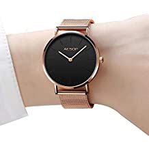 Reloj fino para mujeres Relojes de cuarzo de oro rosa para damas, Relojes de dama