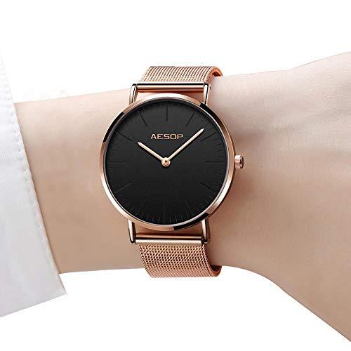 7ce2807d2a73 Reloj fino para mujeres Relojes de cuarzo de oro rosa para damas