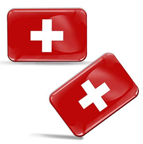 2 pcs 3D Gel Pegatinas Bandera Nacional Suiza Silicona