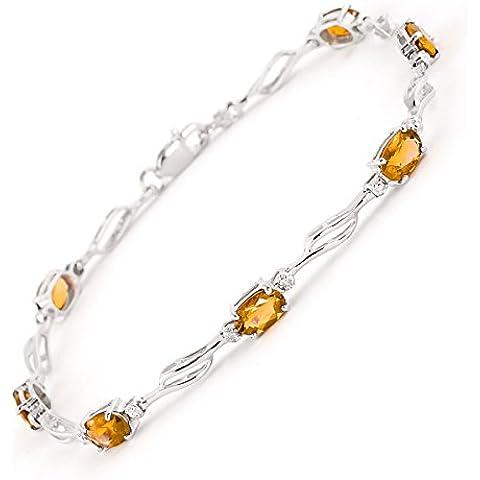 QP Jewellers & citrino Natural Diamond-Bracciale in oro bianco 9 ct, taglio ovale, 4279W 3,38ct