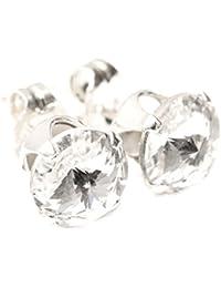 pewterhooter Herren 925 Sterling Silber Ohrstecker Ohrringe handgefertigt mit funkelnden weiß wie ein Diamant Kristall aus SWAROVSKI®.