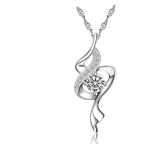 Aooaz Womens colgante collar bañado en plata Wave collar colgante Cubic Zirconia plata boda promesa