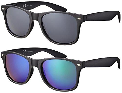 Original La Optica UV400 Verspiegelt Unisex Retro Sonnenbrillen - Doppelpack Gummiert/Rubber Schwarz (Gläser: 1 x Grau, 1 x Grün verspiegelt) LO1 R-Grey/R-Green