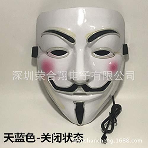 ke, Halloween Party EL Leucht Maske V-Vendetta EL Männer Und Frauen Kleidung Requisiten ()