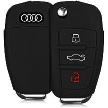 kwmobile Funda de silicona para llave plegable de 3 botones para coche - cover de llave - key case en negro