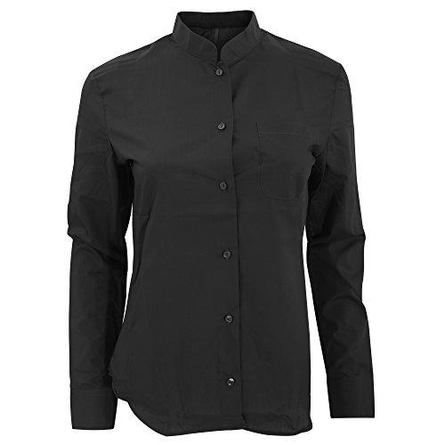 Kariban - camicia con colletto alla coreana e maniche lunghe - donna (m) (nero)