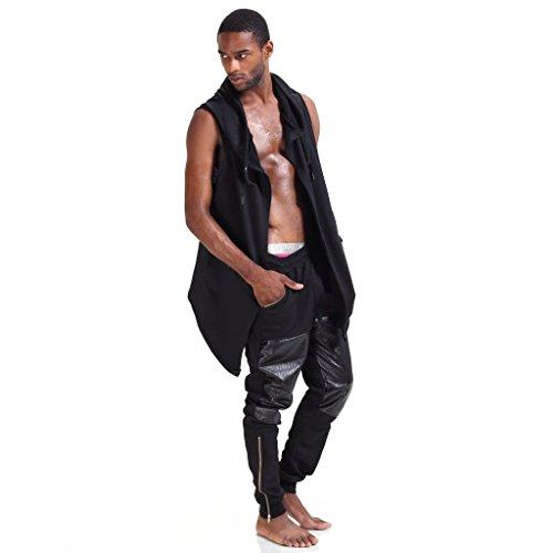 Pizoff Herren Hip Hop High Street Fashion Lang geschnittenes Trägershirt , , P3264-black