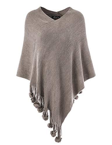 Ferand Damen Gemütlicher Warmer Poncho Pullover mit Mehrweg-Ausschnitt und Süßen Bommeln, One Size, Grau